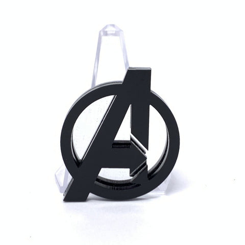 Acrylic Brooch - A Logo - Black and Silver Mirror