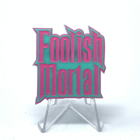 Foolish Mortal Acrylic Brooch - Turq and Pink