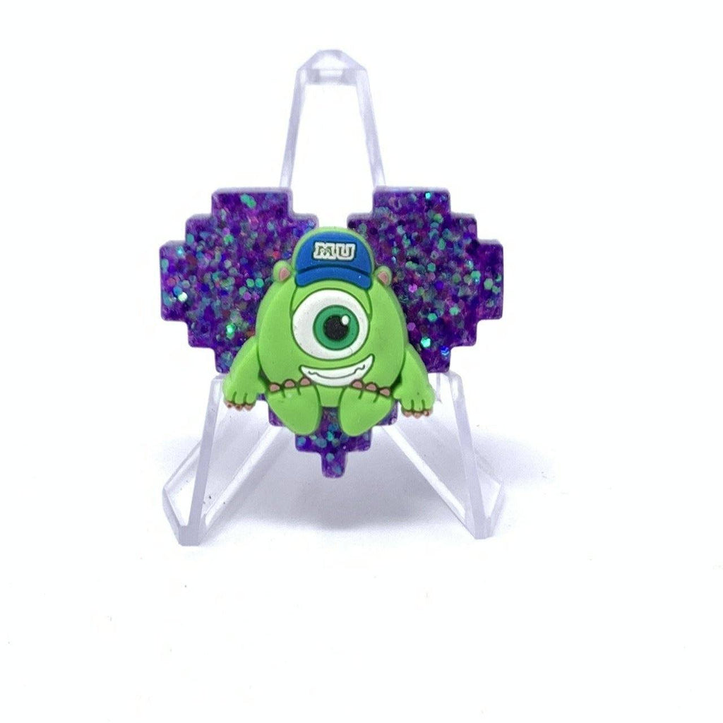 Resin Pin - Purple Glitter Mike Wasowski Pixel Heart