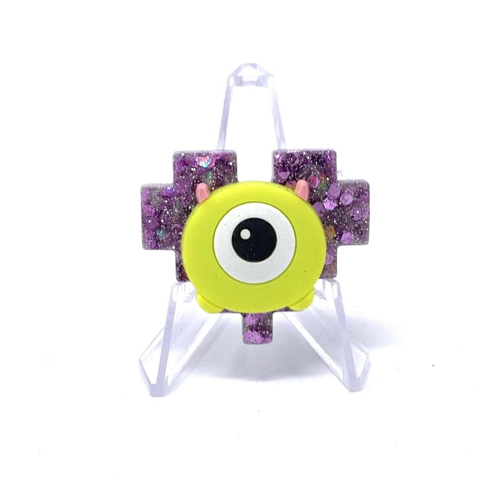Resin Pin - Purple Glitter with Mike Wasowski Pixel Heart