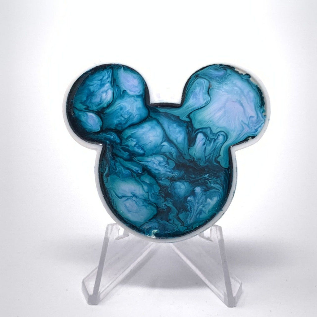 Mouse Acrylic/Resin Brooch - Blue Swirl