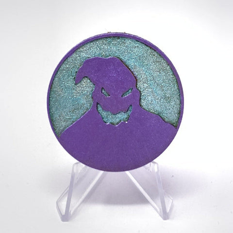 Oogie Boogie Circle (Wood Pin) - Shimmer Mint/Purple