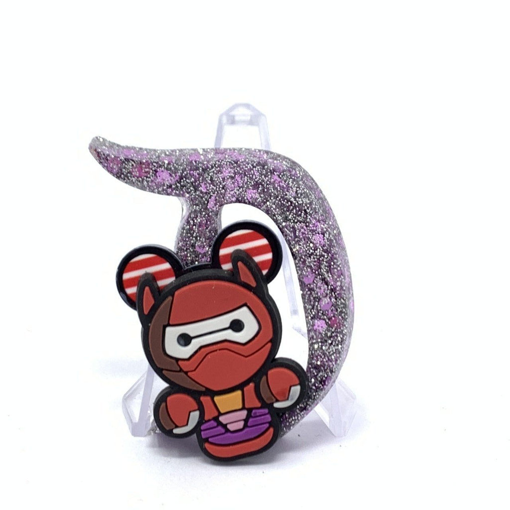 Resin D Pin - Lavender Glitter Baymax in Battle Suit with Mouse Ears