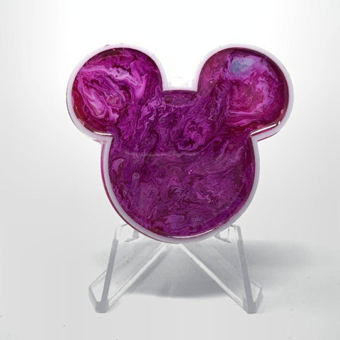 Mouse Acrylic/Resin Brooch - Fuchsia Swirl Ink