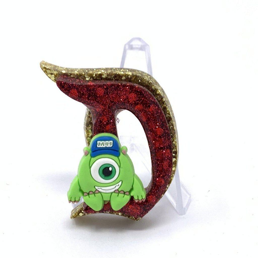 Resin D Pin - Dbl Layer Gold and Red Glitter Mike Wasowski
