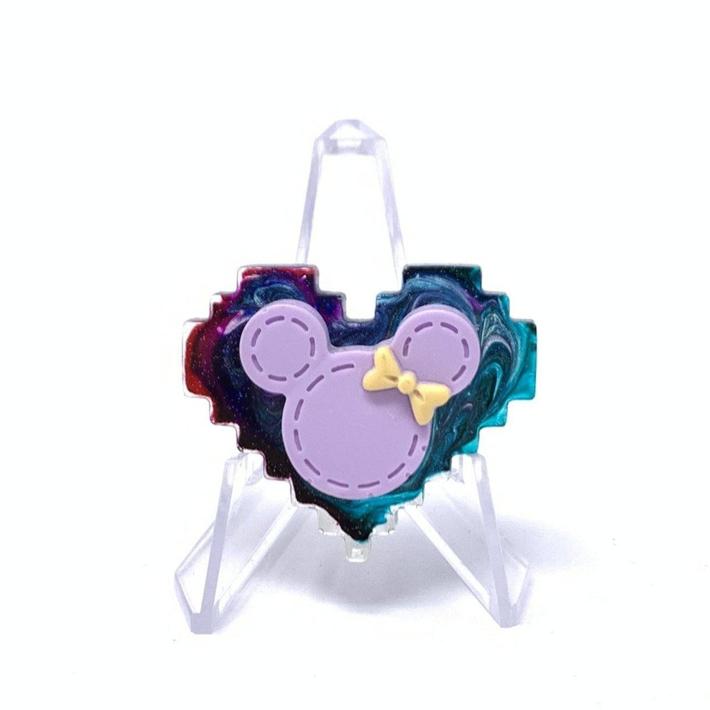 Resin Pin - Mixed Ink with Purple Minnie Pixel Heart