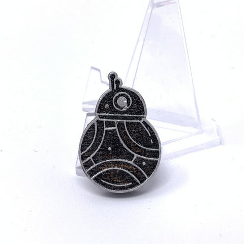 Small BB-8 (Wood Pin) - Silver Foil Outline