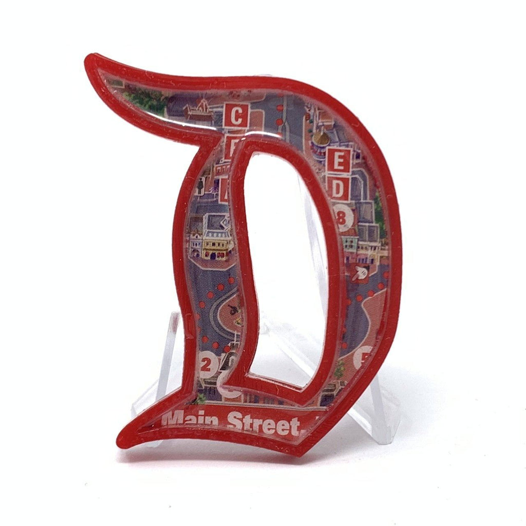 Outline D Acrylic Brooch - Red Main Street Map