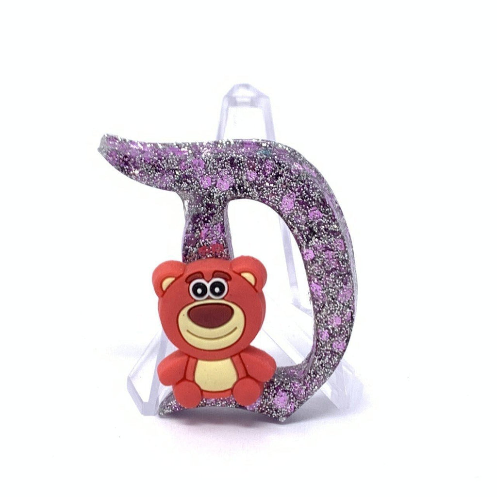 Resin D Pin - Lavender and Silver Glitter Lotso