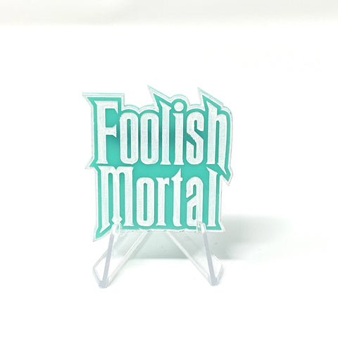 Foolish Mortal Acrylic Brooch - Turq and White