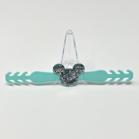 Embellished Mouse Ear Saver - Mint/Silver Glitter