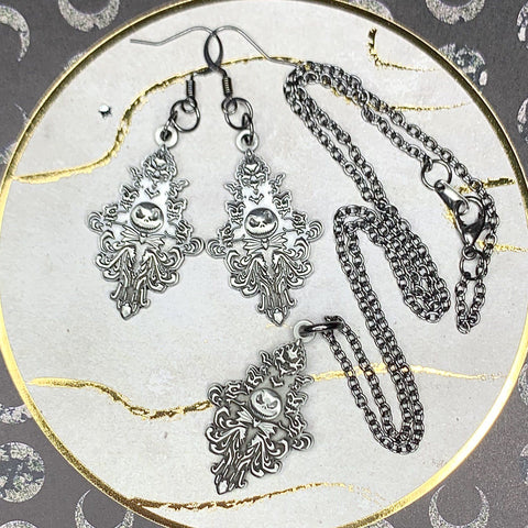 Jack Wallpaper Metal Jewelry Set (Earrings and Necklace)