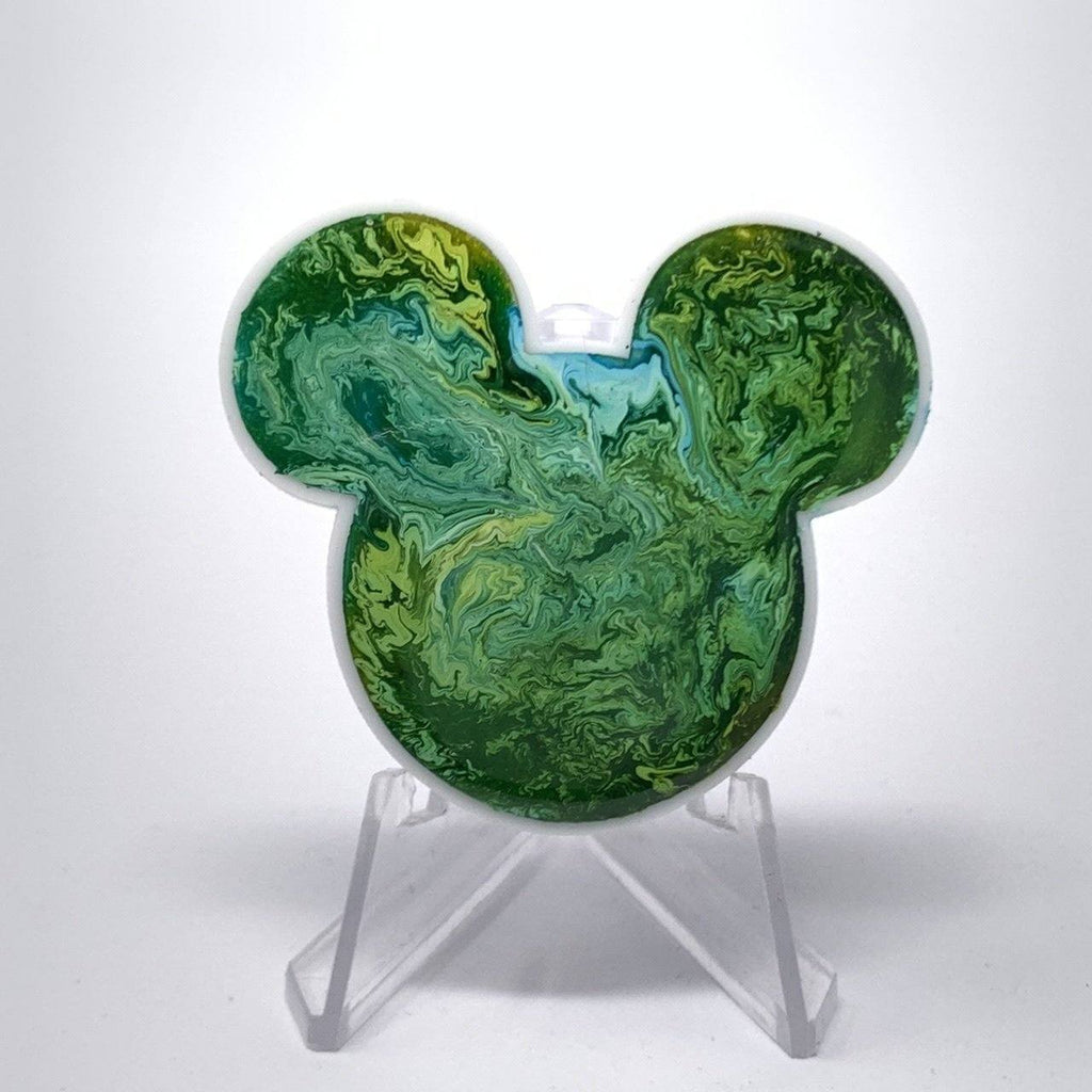 Mouse Acrylic/Resin Brooch - Green Ink Swirl