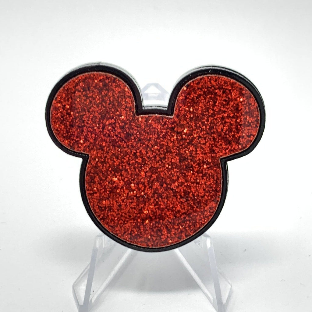 Mouse Acrylic Brooch - Black and Red Glitter