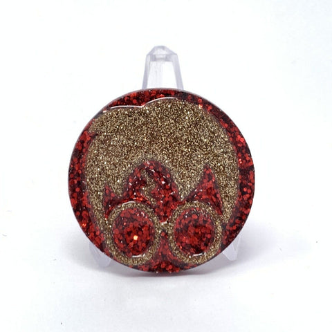 Resin Pin - Red and Gold HP Face