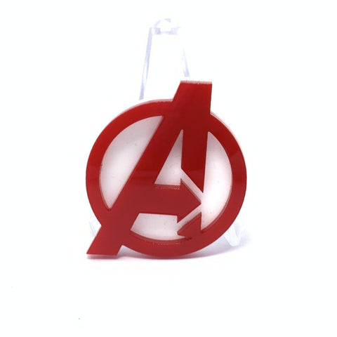 Acrylic Brooch - A Logo - Red and White