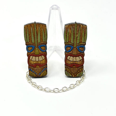 Small Tiki Heads Sweater Clips (Wood Pins)