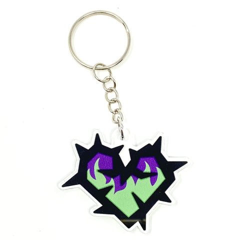 Maleficent Thorn Heart Fire Acrylic Keychain
