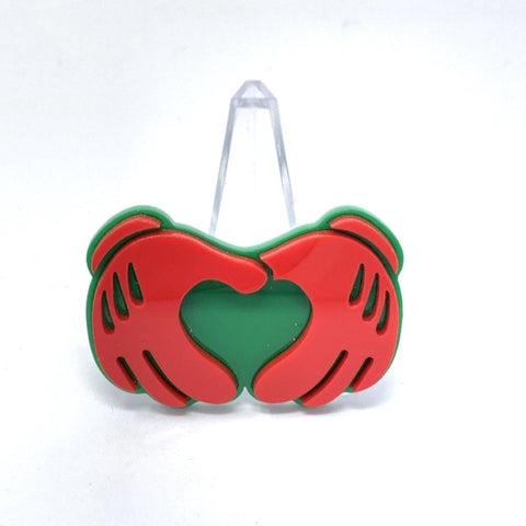 Acrylic Brooch - Glove Heart Hands