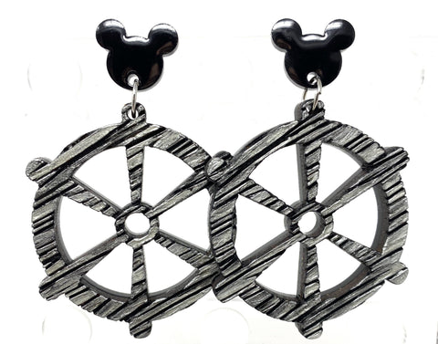 Steamboat Willie Acrylic/Wood Character Drop Earrings