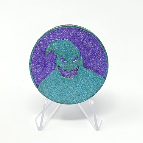 Buggin' Out Circle (Wood Pin) - Shimmer Purple and Mint