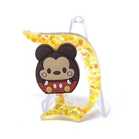 Resin D Pin - Yellow Chunky Glitter with Cute Mouse