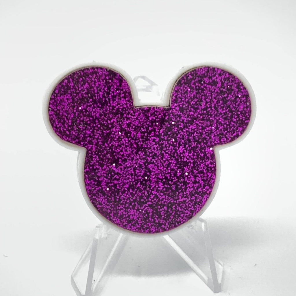 Mouse Acrylic Brooch - White and Purple Glitter