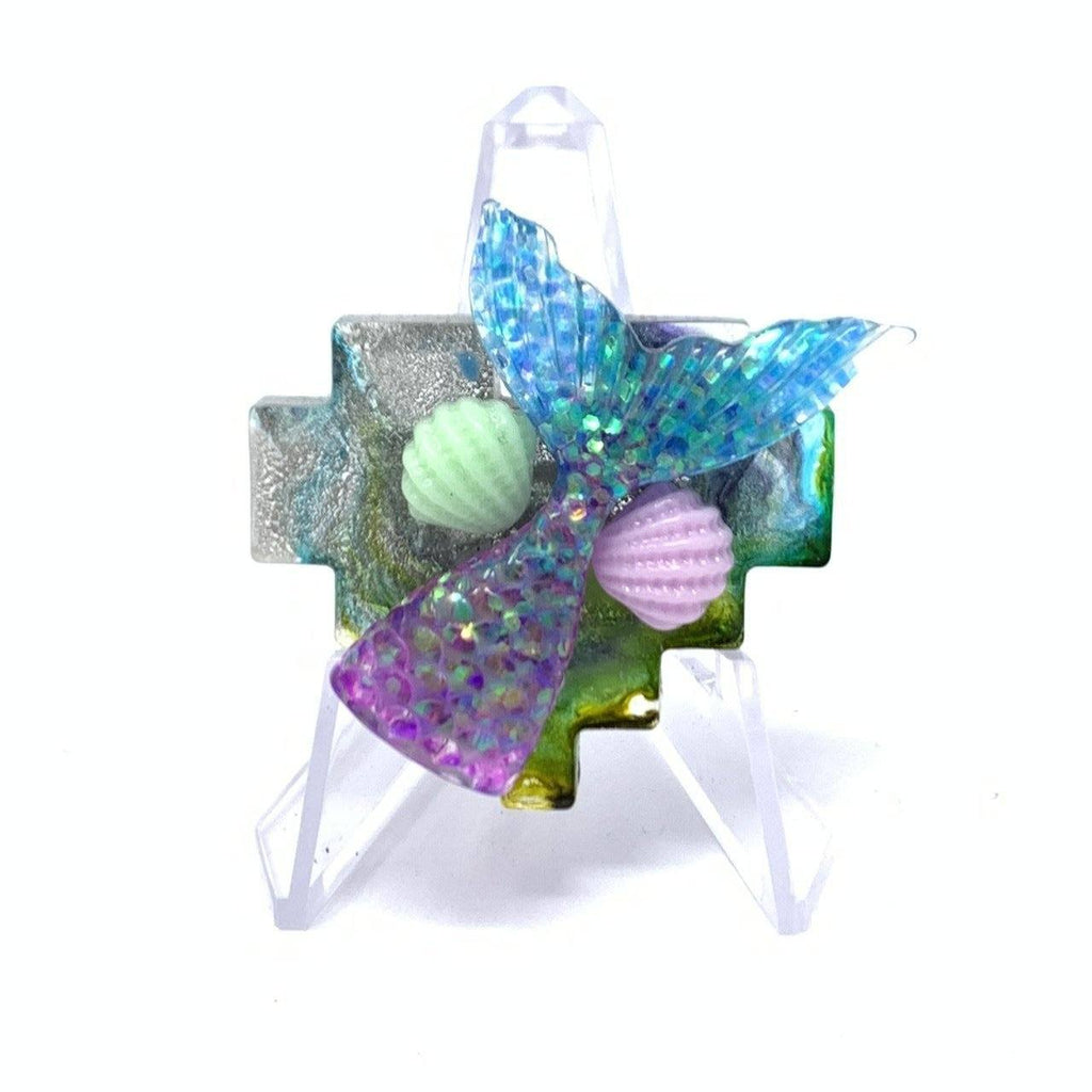 Resin Pin - Mermaid Tail with Shells Pixel Heart