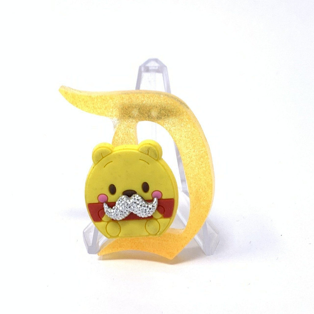 Resin D Pin - Yellow Pooh with a Silver Mustache