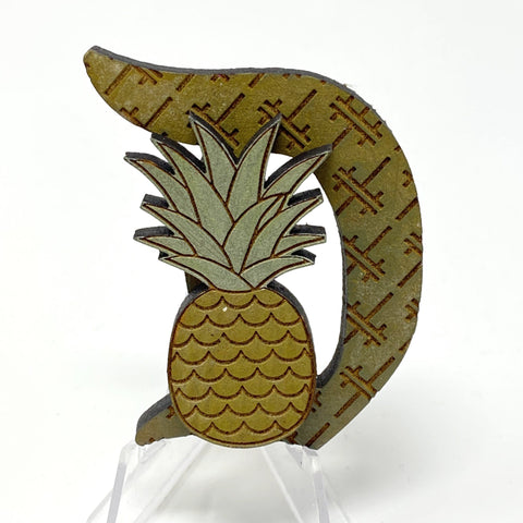Pineapple D Brooch (Wood Pin)