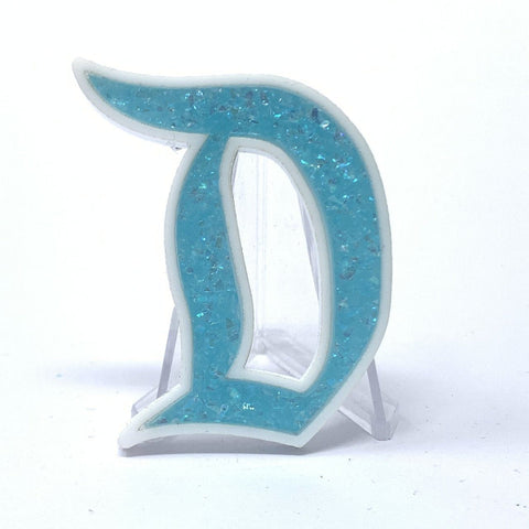 Outline D Acrylic Brooch - White with Nebula Glitter