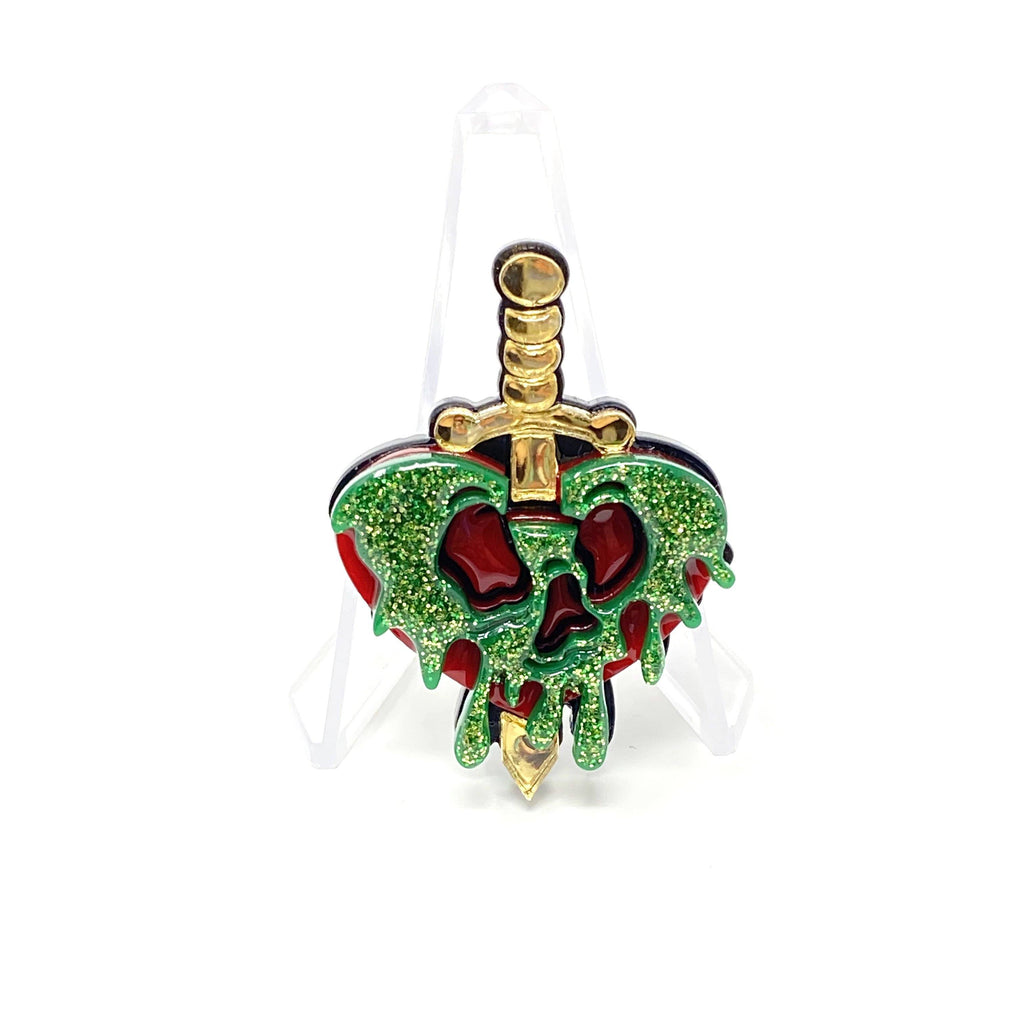 Evil Queen Poison Heart Apple Dagger Acrylic Brooch