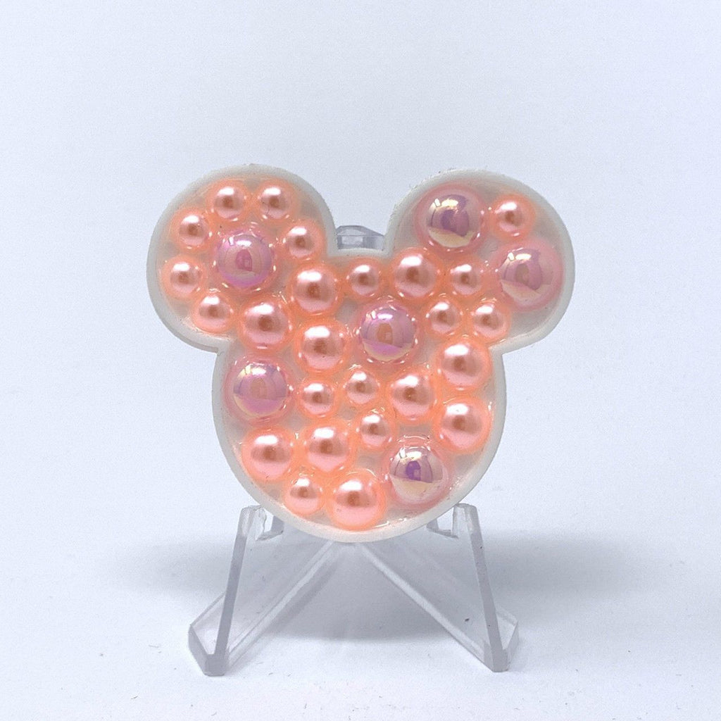 Mouse Acrylic Brooch - Peach Pearls
