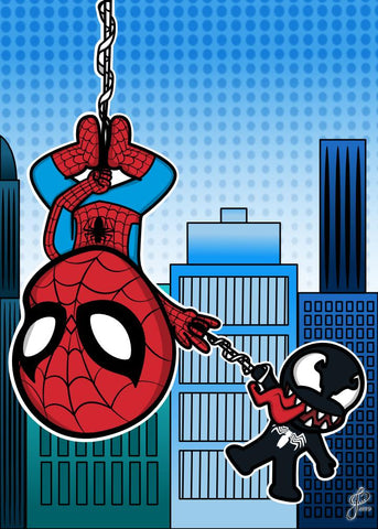 Spiderman and Venom - 5x7 Art Print by Jo2