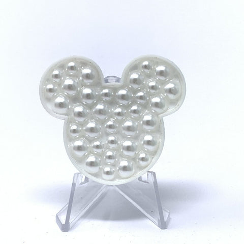 Mouse Acrylic Brooch - White Pearls