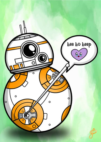Droid Love - 5x7 Art Print by Jo2
