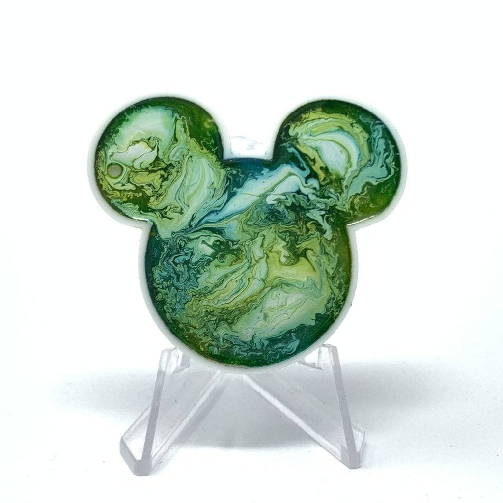 Mouse Acrylic/Resin Brooch - Green Tones Ink Swirl