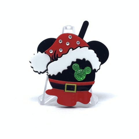 Holiday Flavorz Acrylic Brooch - Mouse with Santa Hat and Jewels