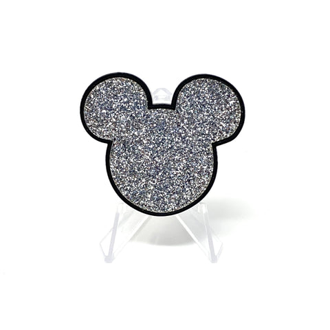 Mouse Acrylic Brooch - Black and Silver Glitter