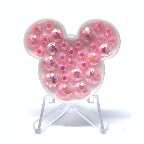 Mouse Acrylic Brooch - Pink Stones