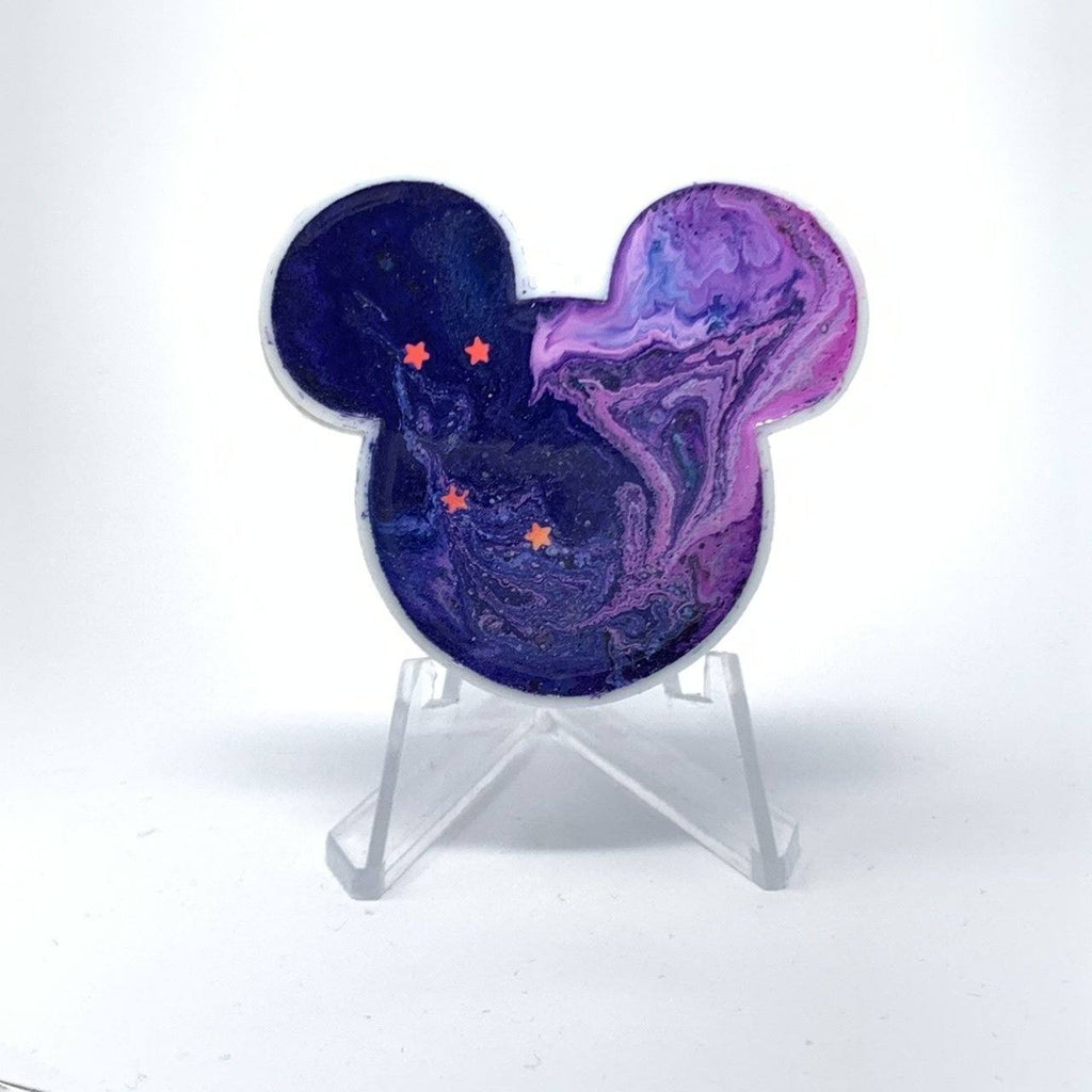 Mouse Acrylic/Resin Brooch - Blue Purple Ink Star
