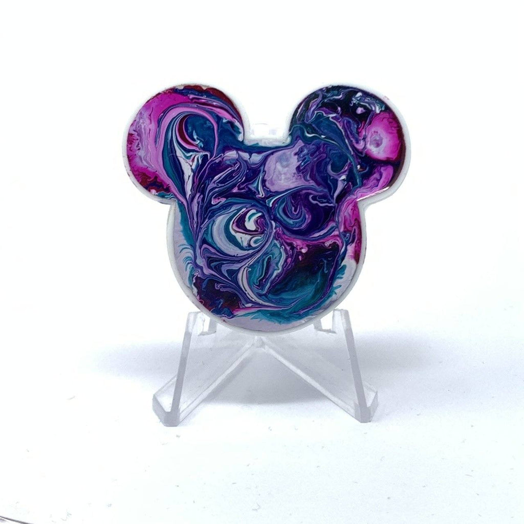 Mouse Acrylic/Resin Brooch - Pink Purple Ink Swirl