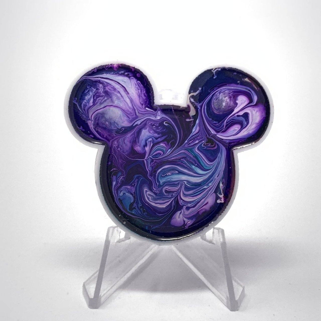 Mouse Acrylic/Resin Brooch - Big Purple Swirl