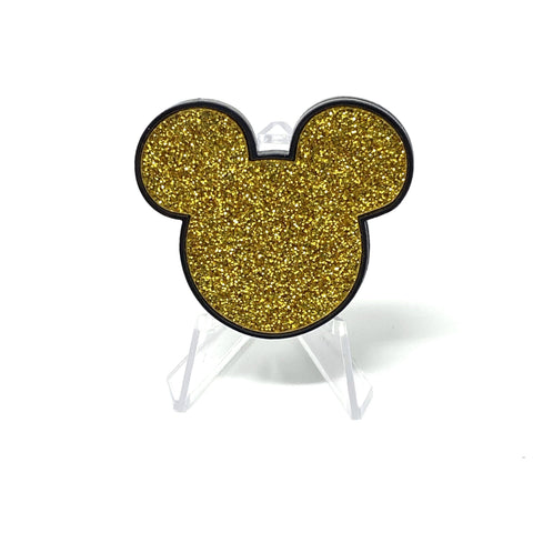 Mouse Acrylic Brooch - Black and Gold Glitter