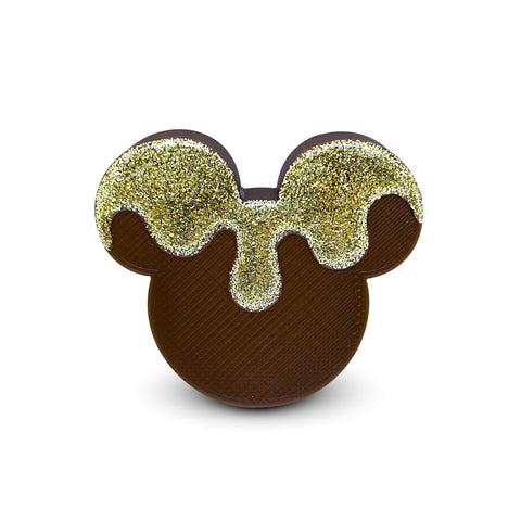 Embellished Mouse Badge Reel Cover - Brown/Gold Glitter Drip