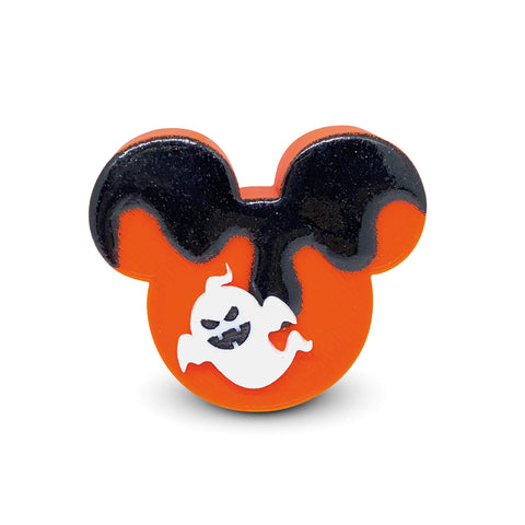 Embellished Mouse Badge Reel Cover - Orange/Black Glitter Drip with Vampire Ghost