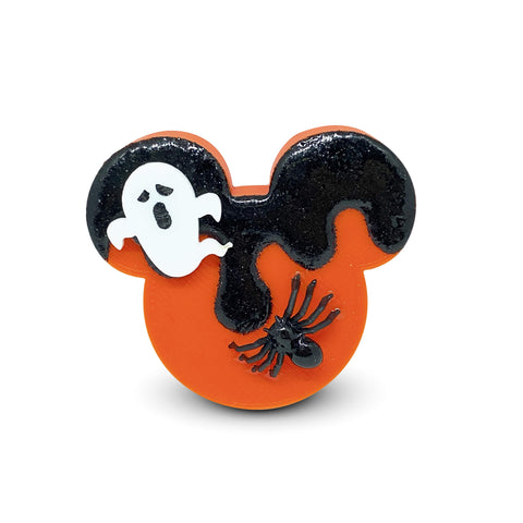 Embellished Mouse Badge Reel Cover - Orange/Black Glitter Drip with Spider and Scared Ghost