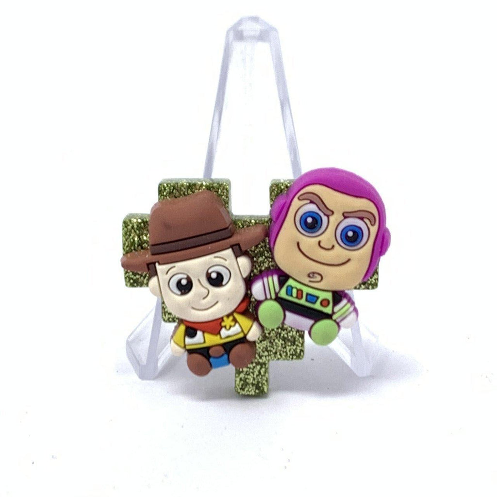Resin Pin - Green Glitter with Buzz and Woody Pixel Heart