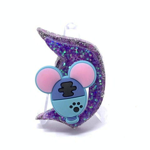 Resin D Pin - Dbl Layer Purple Glitter with Stitch Balloon