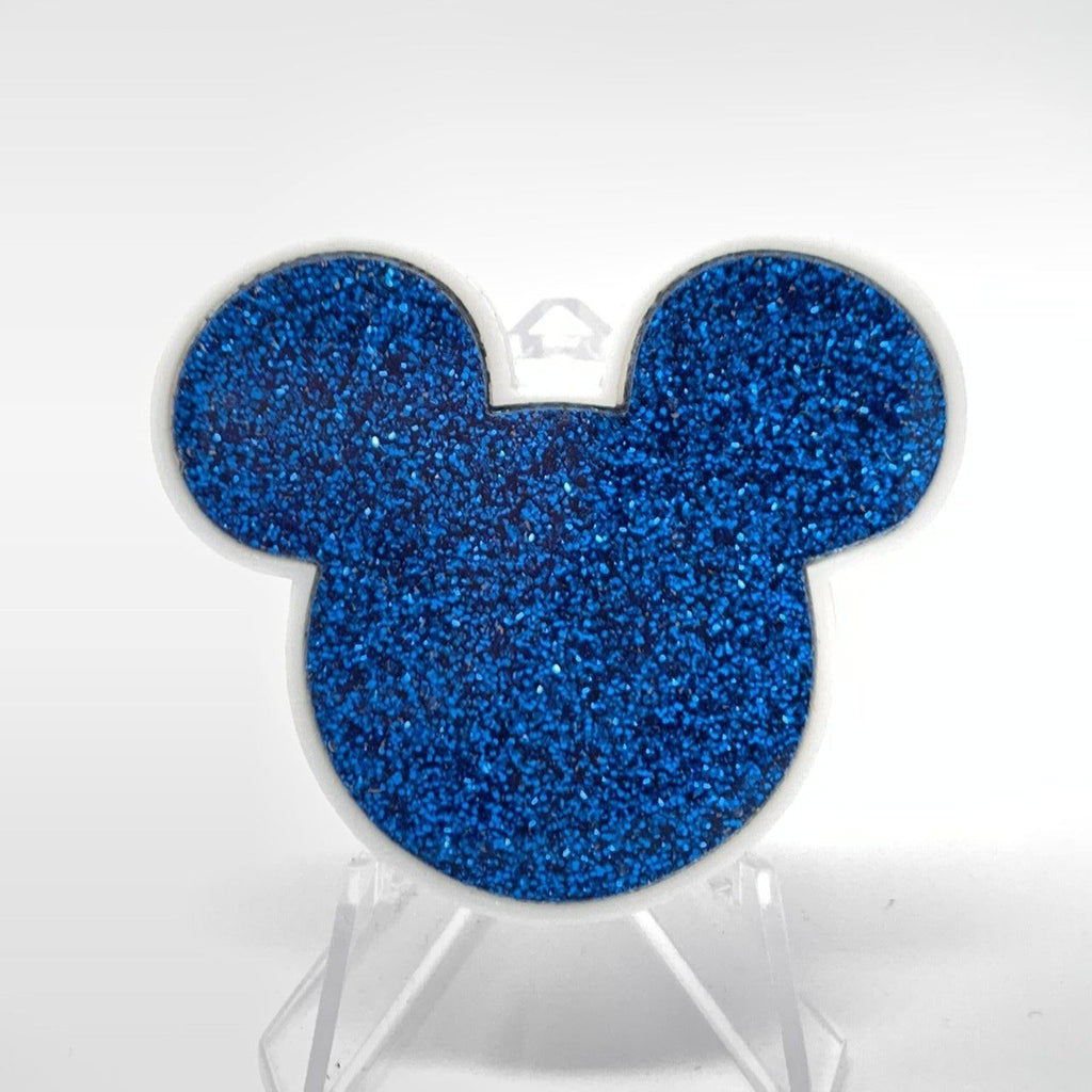 Mouse Acrylic Brooch - White and Blue Glitter